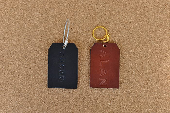 Amazon.com: Leather luggage tag, backpack name tag, personalized ...