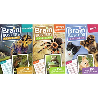 Brain Busters Card Game - Pets, Creepy Crawlies, Dinosaurs - with Over 150 Trivia Questions - (Set of 3 Cards) Educational Flash Cards v1: Toys & Games [5Bkhe0505631]