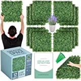 """CREATIVE SPACE Artificial Boxwood Panels 12 Pcs 20""""x20"""" Faux Hedge Panel - Grass Wall Décor, Indoor Outdoor Greenery Backdrop"""