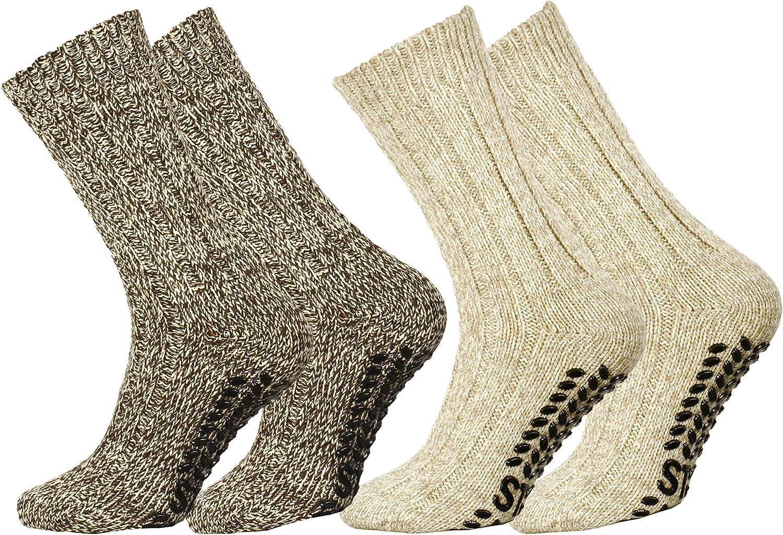 Lote de 2/o 4/pares de calcetines noruegos en lana con/puntos antideslizantes