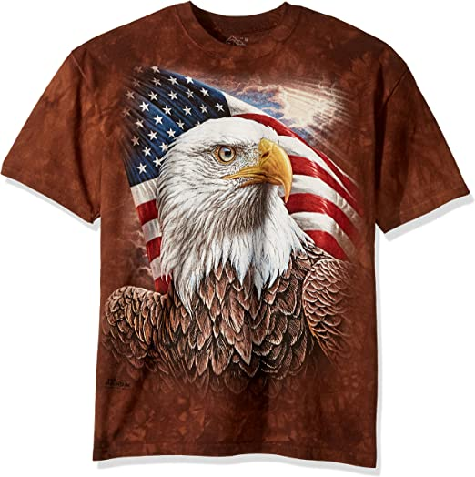 American Eagle Flag T-Shirt By The Mountain 100/% Cotton Tee Shirt