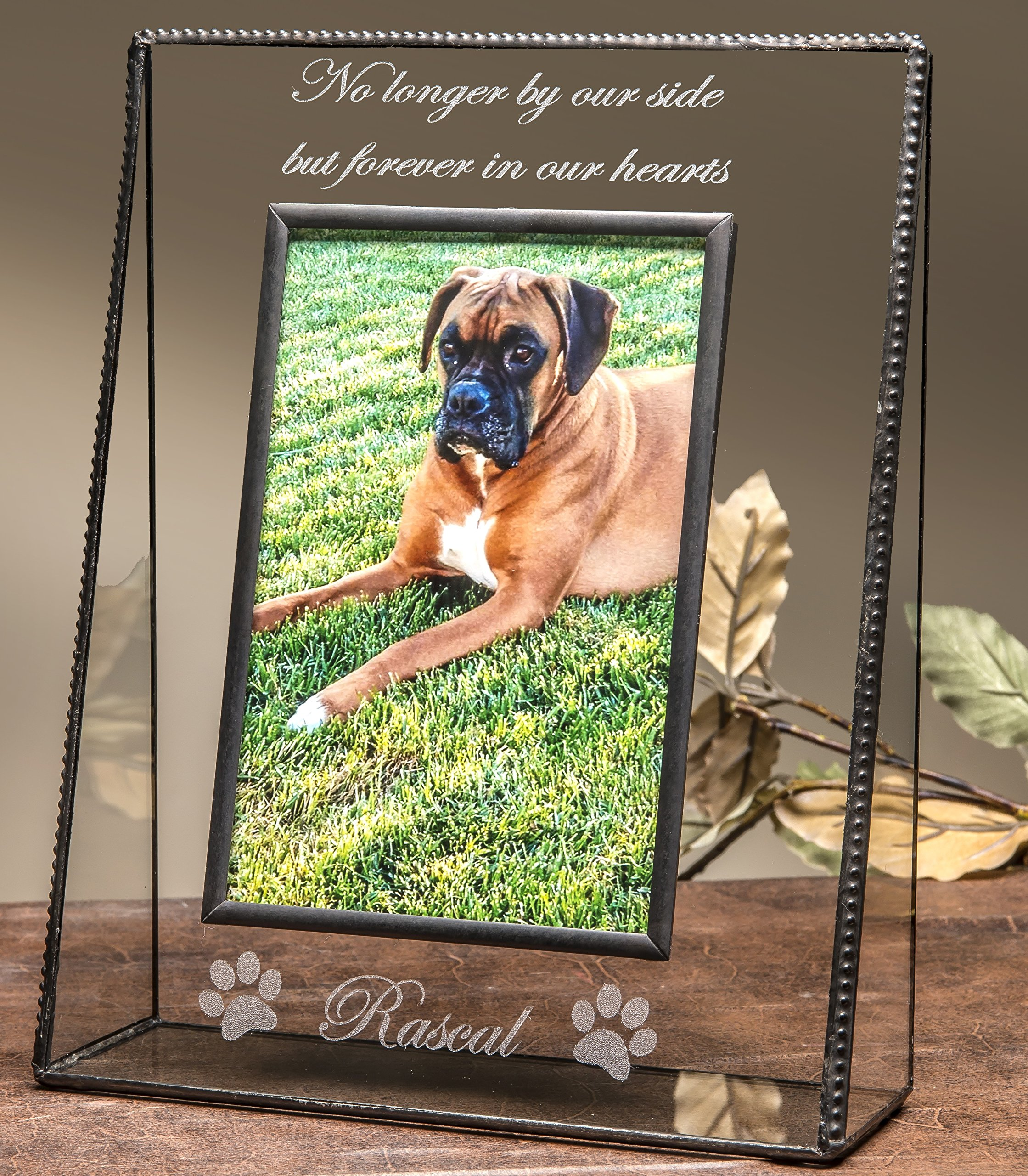 J Devlin Pic 319-46VEP534 Personalized Memorial Pet Glass Picture Frame Engraved 4x6 Photo Frame Dog Cat