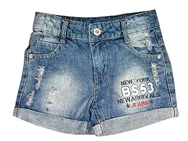 AEL - Pantalón corto - para niña Azul azul vaquero: Amazon ...