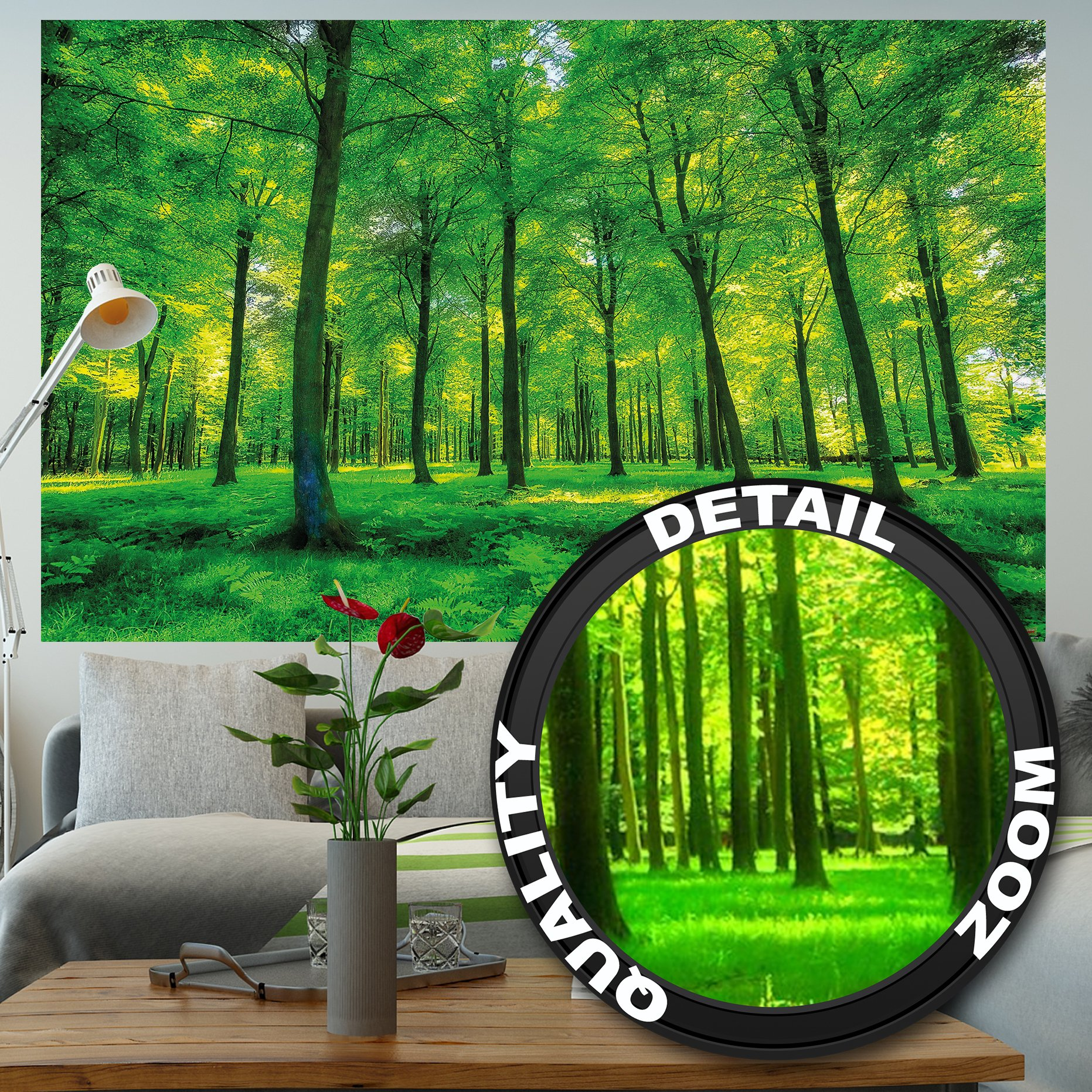 GREAT ART Wallpaper Trees Forest – Nature Wall Photo Decoration Natural Landscape Poster Summer Relax Sun Plants Flora Mural (82.7x55 Inch)