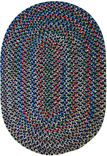 Katherine Multi Indoor Outdoor Oval Braided Rug, 4 by 6-Feet, Navy