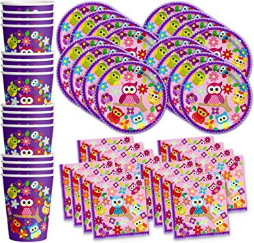 Amazon.com: Patchwork Búho Fiesta de cumpleaños suministros ...