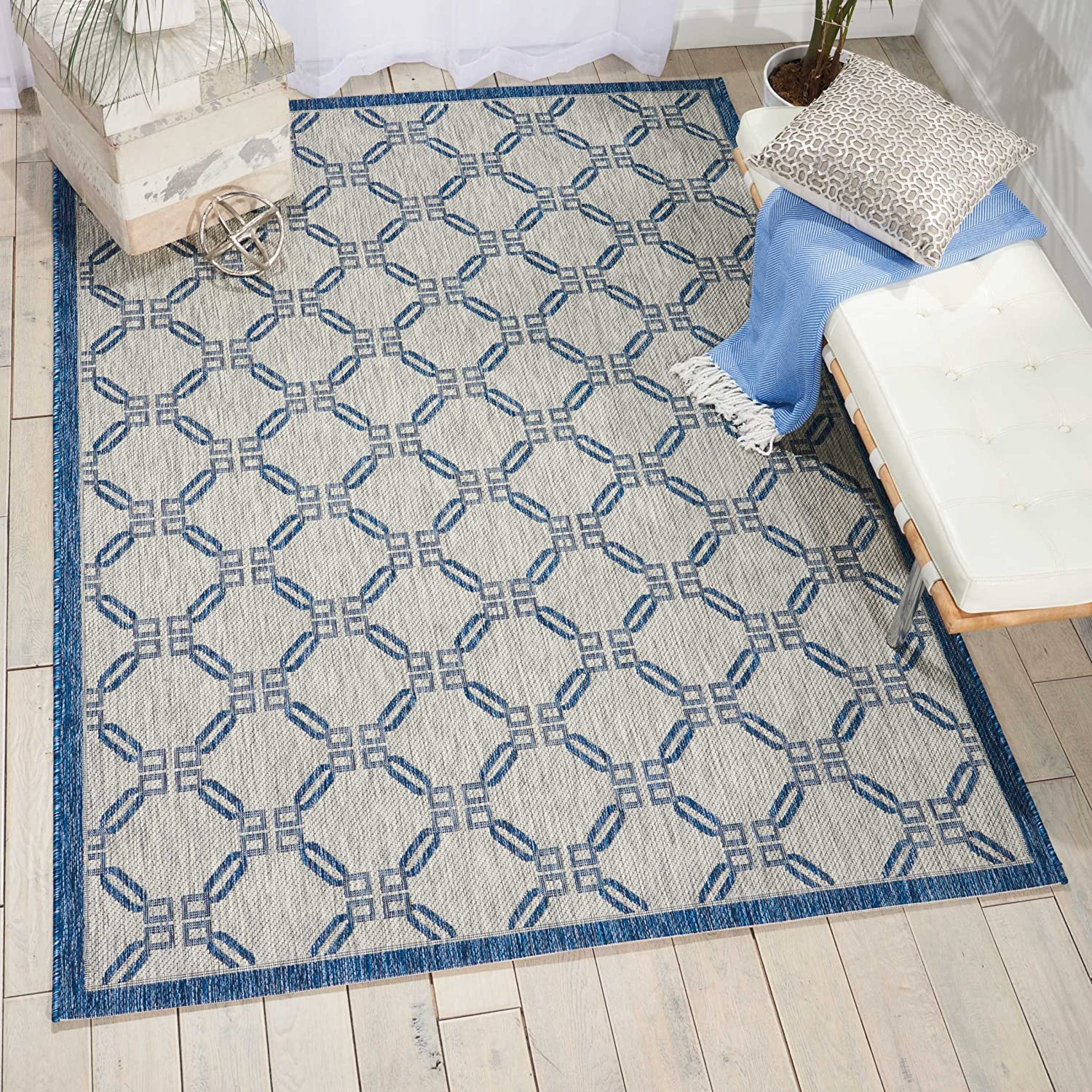 Nourison Garden Party Ivory/Blue Indoor/Outdoor Area Rug 3 Feet 6 Inches by 5 Feet 6 Inches, 3'6