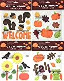 Fall Autumn Harvest Window Gel Clings Decorations: Pumpkin, Leaves, Flowers, Birds, Squirrels