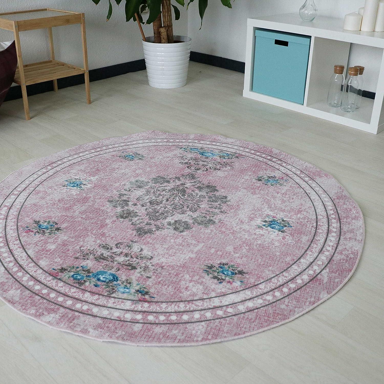 Designer Teppich Teppich Teppich mit Medaillion und Blüten Muster in Pink Rosa Rose Pastellfarbe waschbarer Teppich mit rutschfestem Rücken und Kelim Kilim Oberfläche hochweritg Rund und Oval (Oval 120cm x 180cm) d61a4f