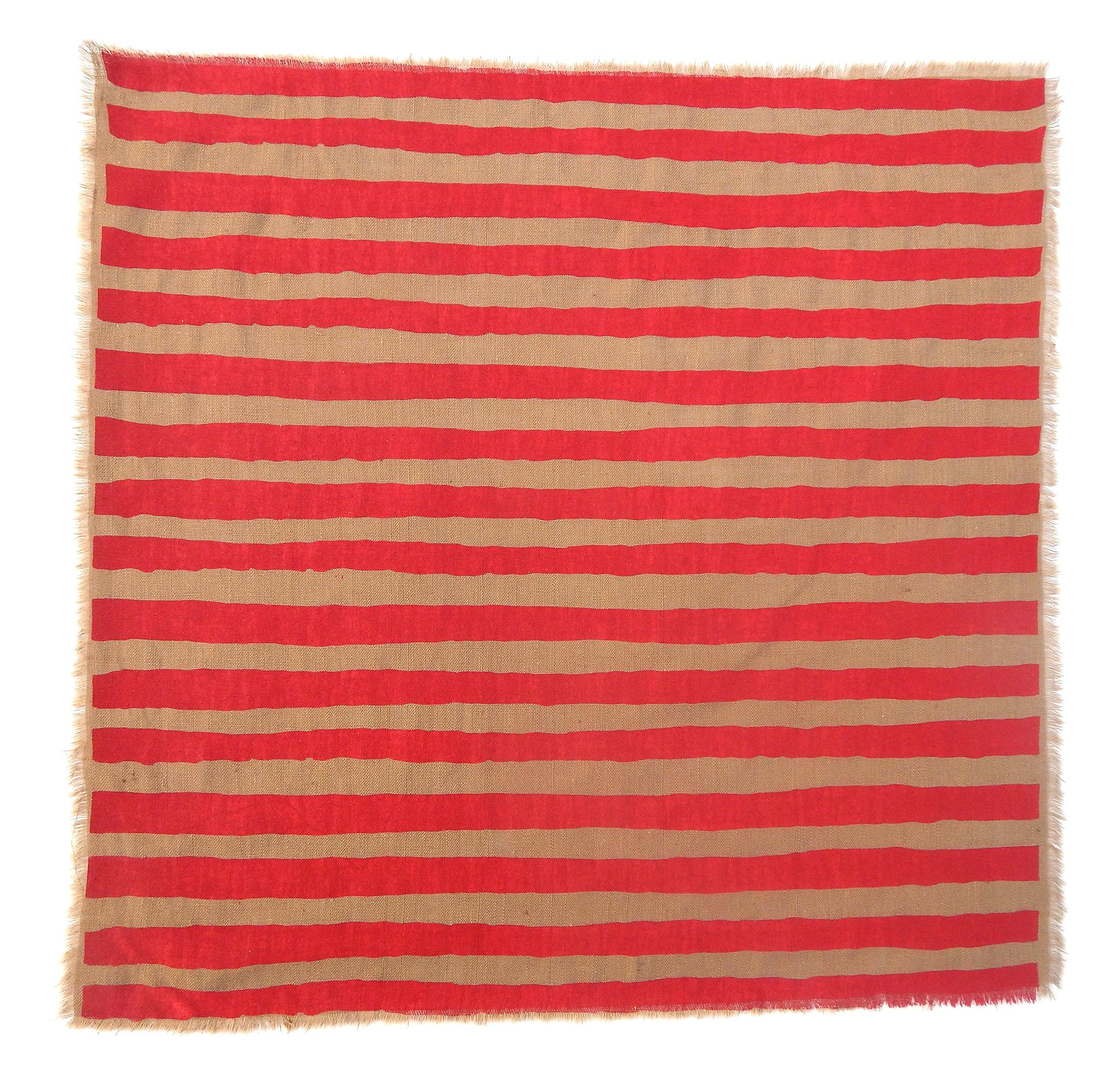 Gitika Goyal Home Windows Collection Cotton Khadi  Khaki Napkin 17x17 Stripe Design, Red Hand Screen Print