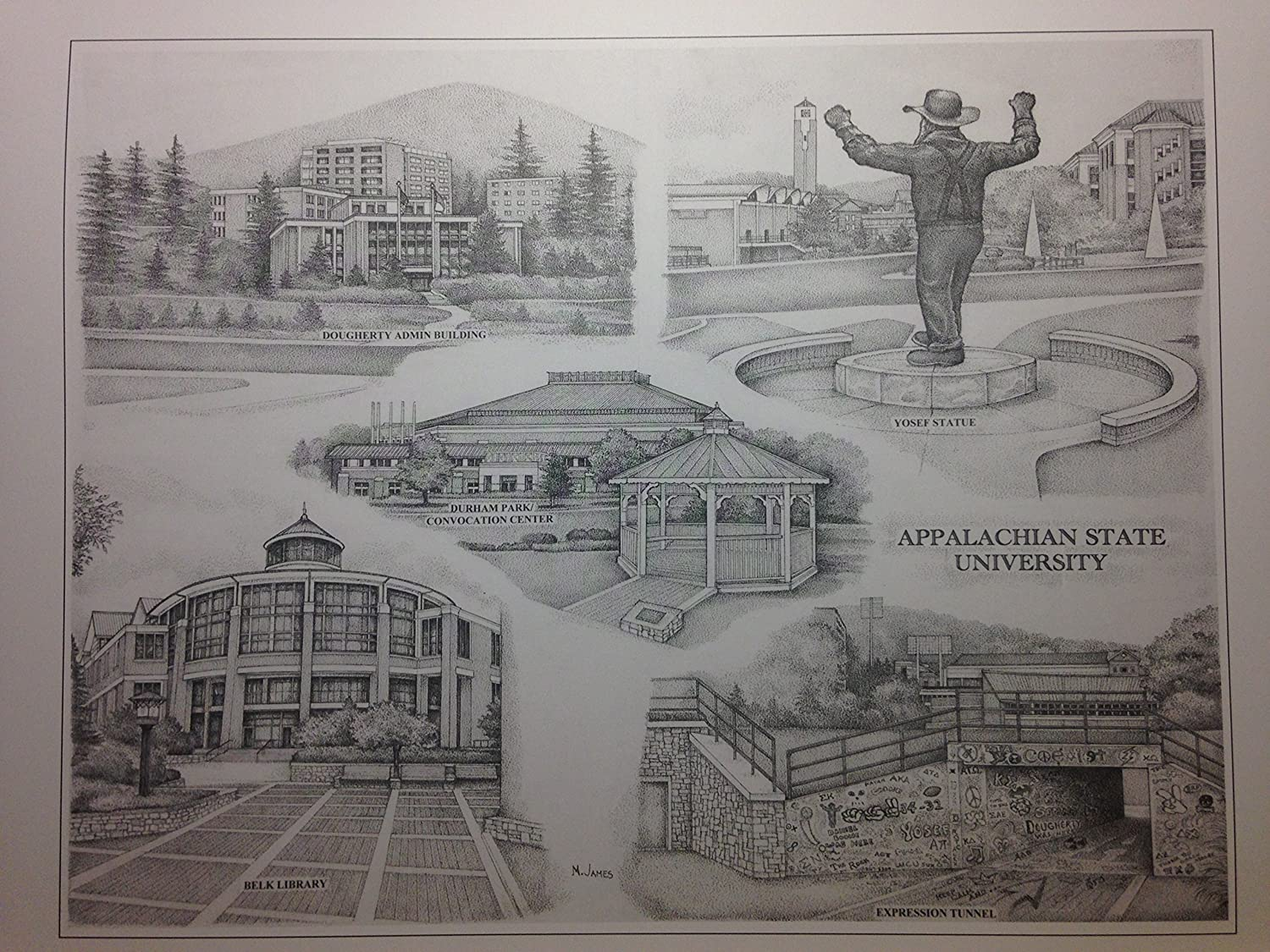 Appalachian State 12x16 pen and ink collage print