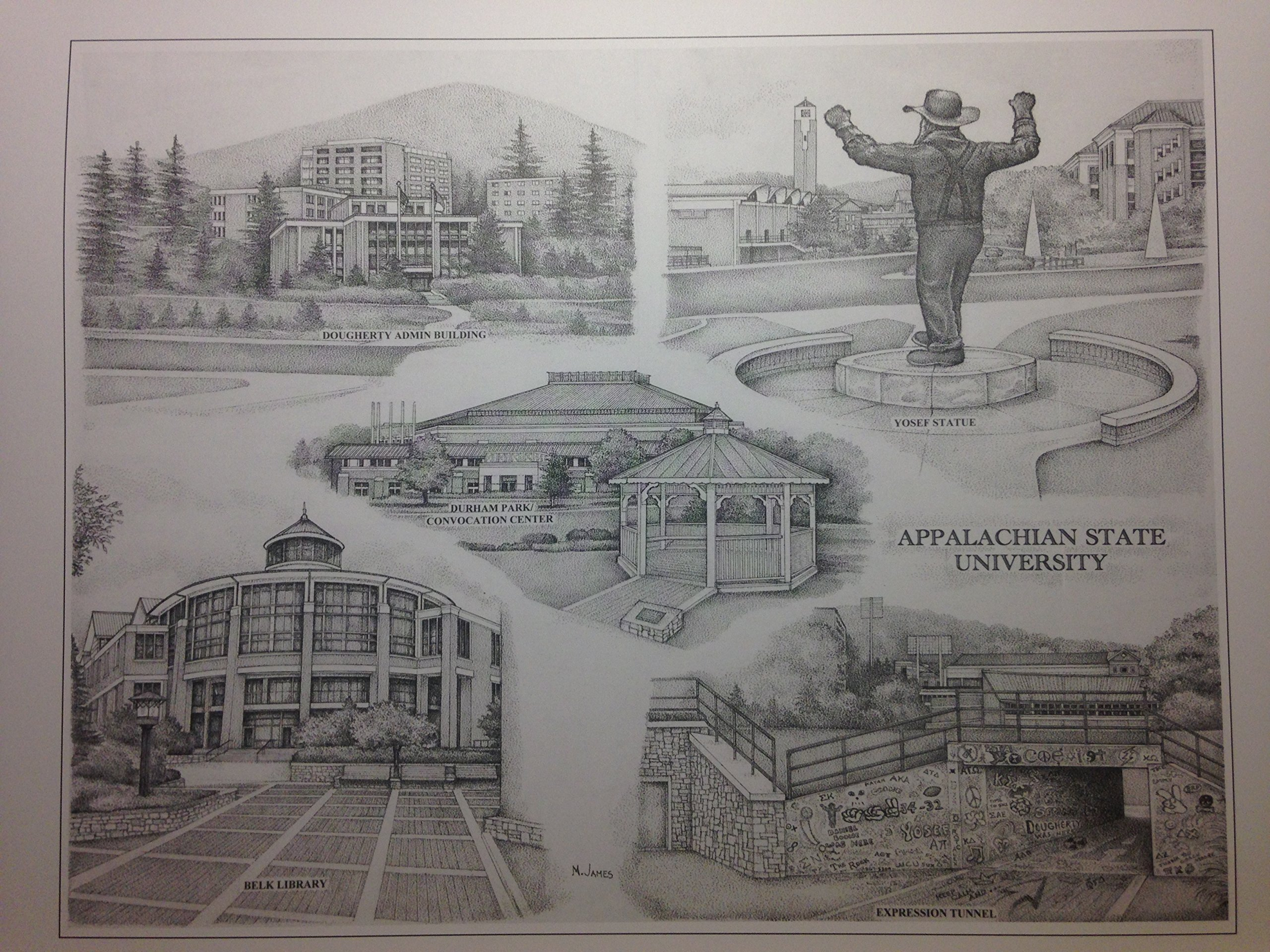 Appalachian State 12''x16'' pen and ink collage print
