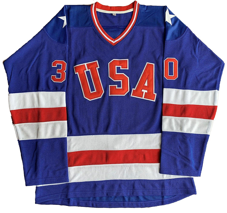 1980 USA Olympic Hockey #21 Mike Eruzione #17 OCallahan #30 Jim Craig Miracle On Ice USA Jersey White Blue