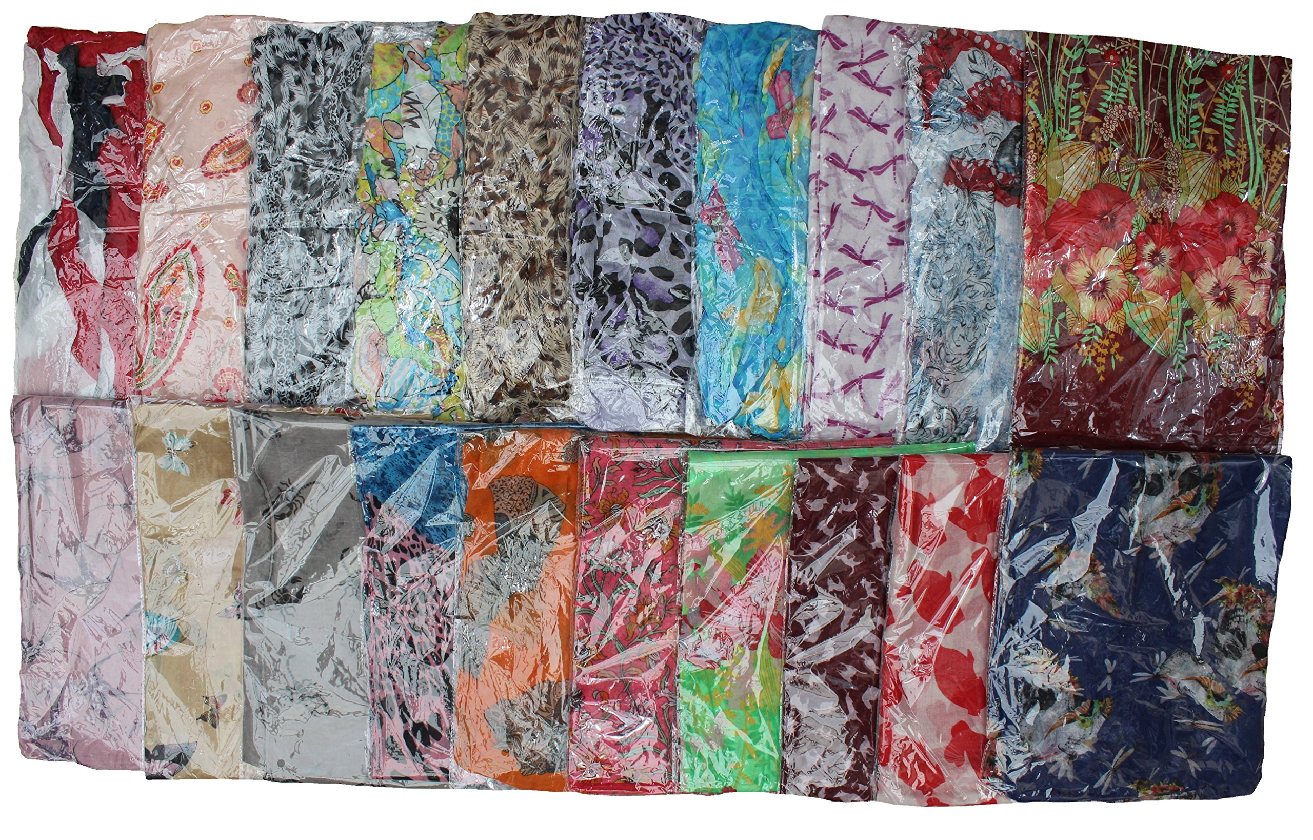 Kuldip Crushed Effect Pashmina Style Scarf Shawl Stole. Mixed designs. (Pack of 100). by Kuldip