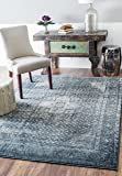 """nuLOOM Traditional Vintage Inspired Overdyed Distressed Fancy Runner Area Rug, Blue, 5' 3"""" x 7' 8"""""""