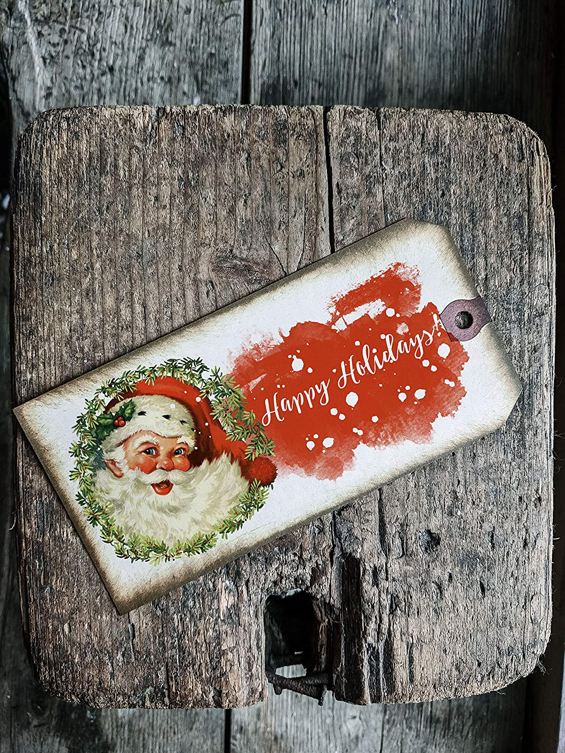Vintage Style Christmas Santa Clause Tags Inspirational Bundle Set of 3