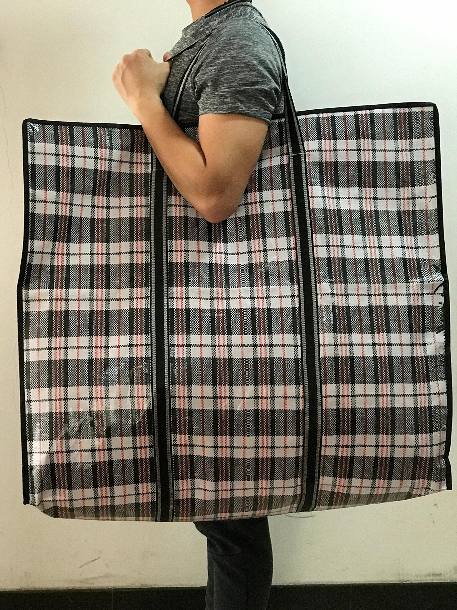 WallyE Waterproof Jumbo Cloth Storage Bags,WovenTravelling Bag, Black Gingham
