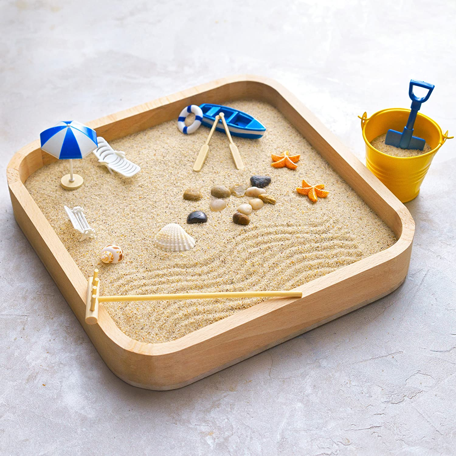 Kenley Mini Sandbox for Desk - Miniature Beach & Zen Garden - Sand Toys Play Kit for Kids, Adults, Desktop, Office - Sand Box Gift Set with Natural Sand, Wooden Tray, Lid, Rakes, Rocks & Accessories