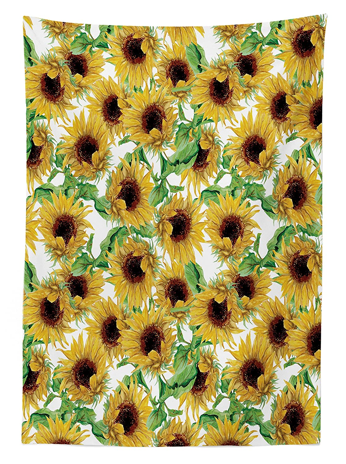 60 X 90 Inches Dining Room Kitchen Rectangular Table Cover Ambesonne Sunflower Decor Tablecloth by Dried Sunflowers Illustration Wildflowers Branch Herbarium Artistic Design Fine Art