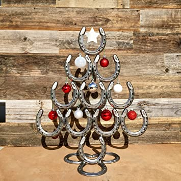 rustic horseshoe christmas tree with star and ornaments catch the luck the heritage forge - Horseshoe Christmas Tree