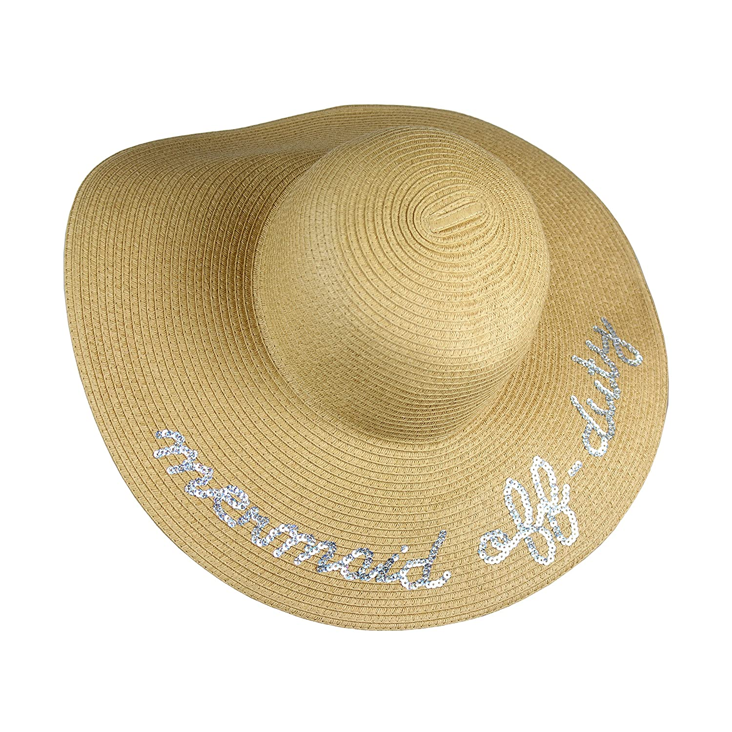061e721a0 UPF 50+ Large Straw Floppy Sun Hat- Weaved Tweed Crushable Wide Brim Beach  Cap with Sequin Quote 'Mermaid Off-Duty
