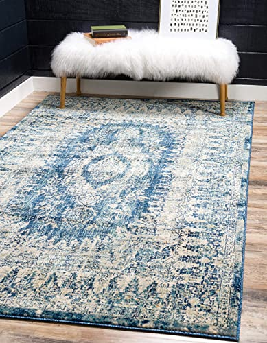 Unique Loom Oslo Distressed Area Rug, 10 0 x 13 0, Navy Blue