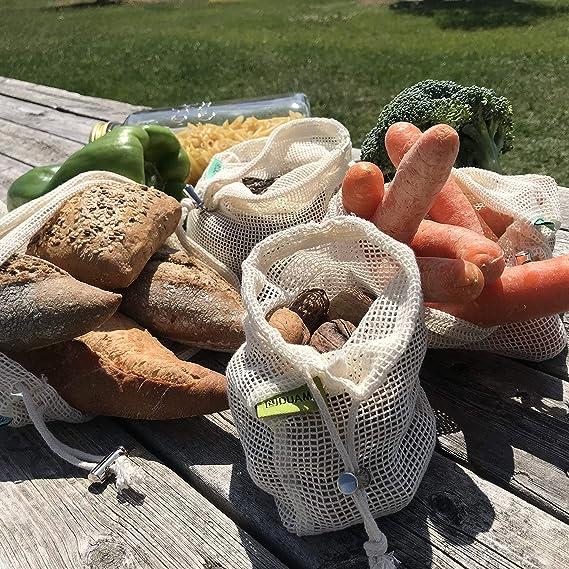 Bolsas reutilizables fruta. 4 bolsas reutilizables compra de malla ...