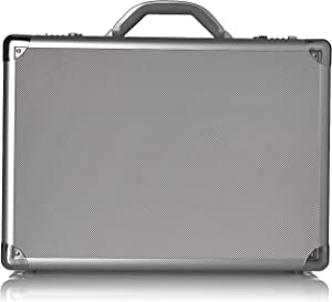 Solo New York Fifth Avenue Aluminum Attaché Briefcase With Combination Locks, Silver