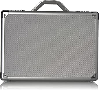 Solo New York Fifth Avenue 17.3 Inch Aluminum Laptop Attaché Briefcase, Hard-Sided with Combination Locks, Silver