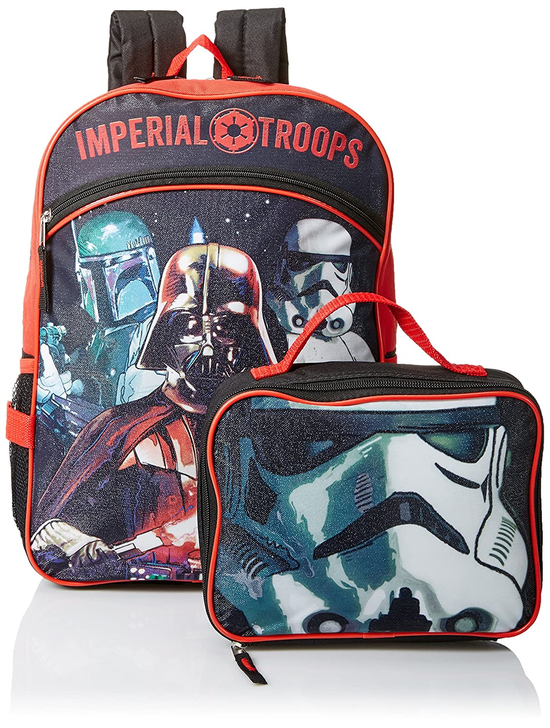 ee12e24695 Star Wars Boys  Disney Red 16 Inch Backpack with Detachable Lunch ...