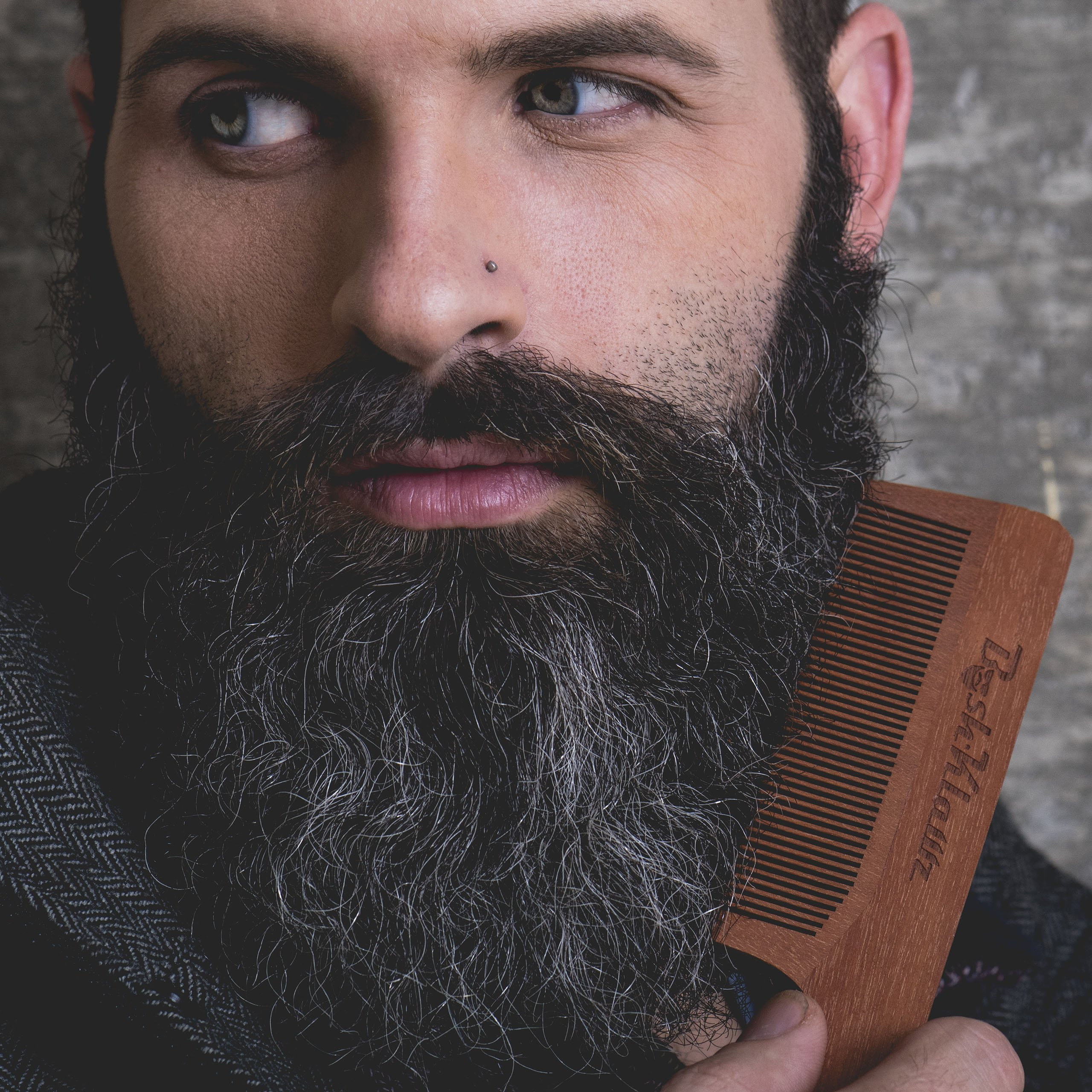 ManKlawz Men's Comb Fine Teeth Wooden Hair Comb Detailer for Fine Hair Parts and Styling - Best Handle Hair Comb for Men with Big Manly Hands by BushKlawz (Image #4)