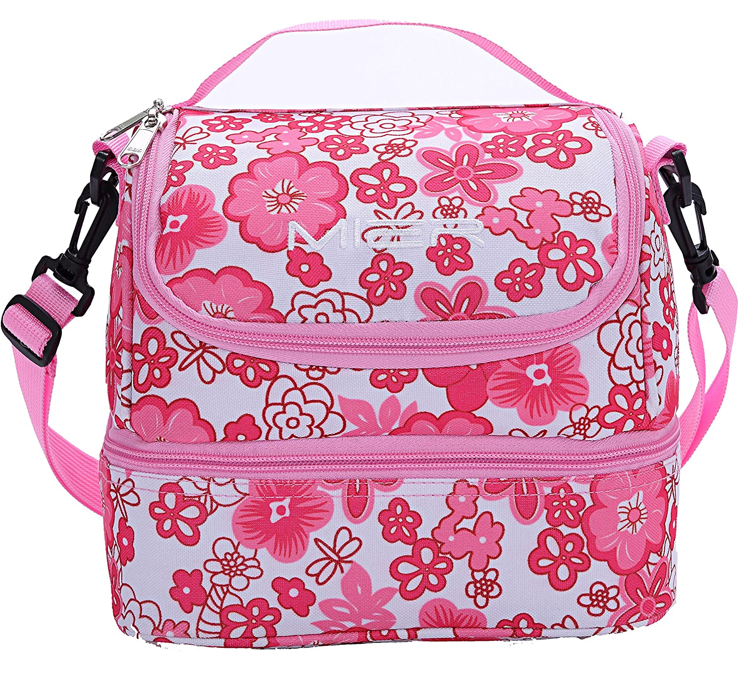 MIER Double Decker Insulated Lunch Box Pink Soft Cooler Bag Thermal Lunch Tote with Shoulder Strap Pink Flower