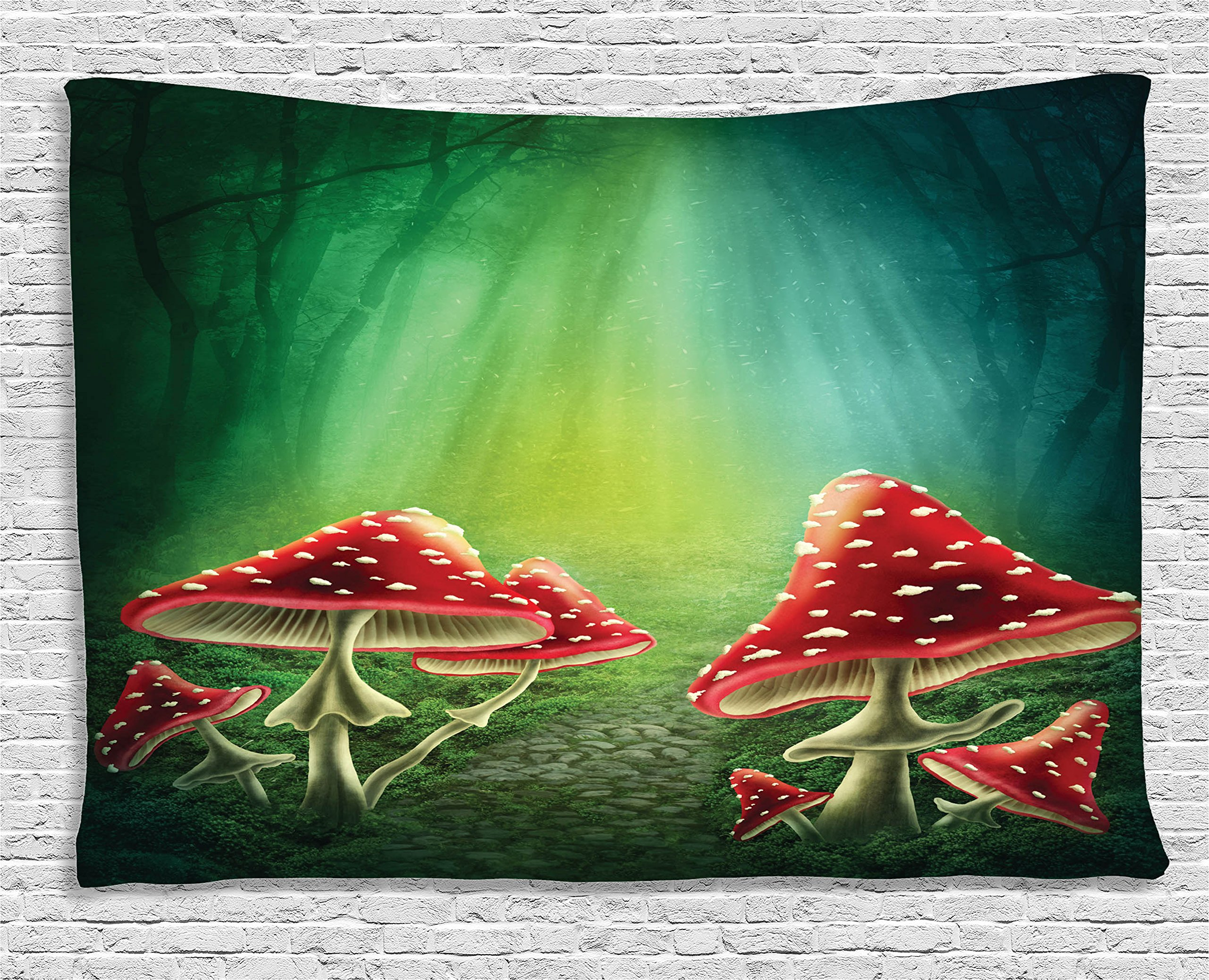 Ambesonne Green Tapestry Flowers and Mushroom Decor, Shrooms in Enchanted Forest Magical Mystery Path in Fairy Land, Bedroom Living Room Kids Room Dorm Wall Hanging Art, 60 W X 40 L, Green Red