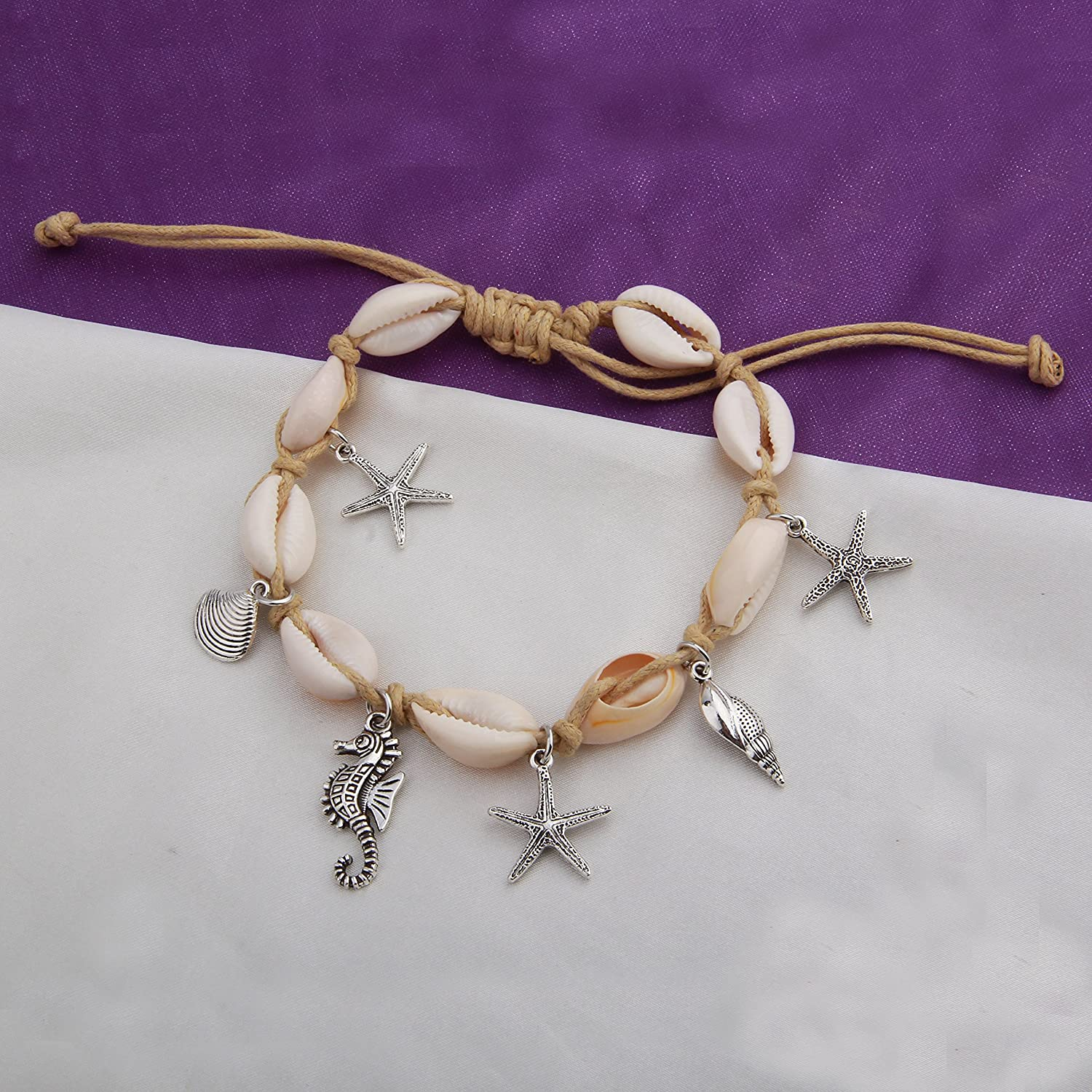 RQIER Cowrie Shell Bracelet with Starfish Seahorse Charm Shell Anklet Foot Jewelry Beach Jewelry for Women