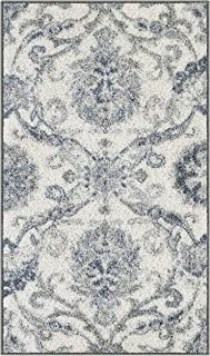 product image for Maples Rugs Blooming Damask Kitchen Rugs Non Skid Accent Area Floor Mat [Made in USA], 1'8 x 2'10, Grey/Blue