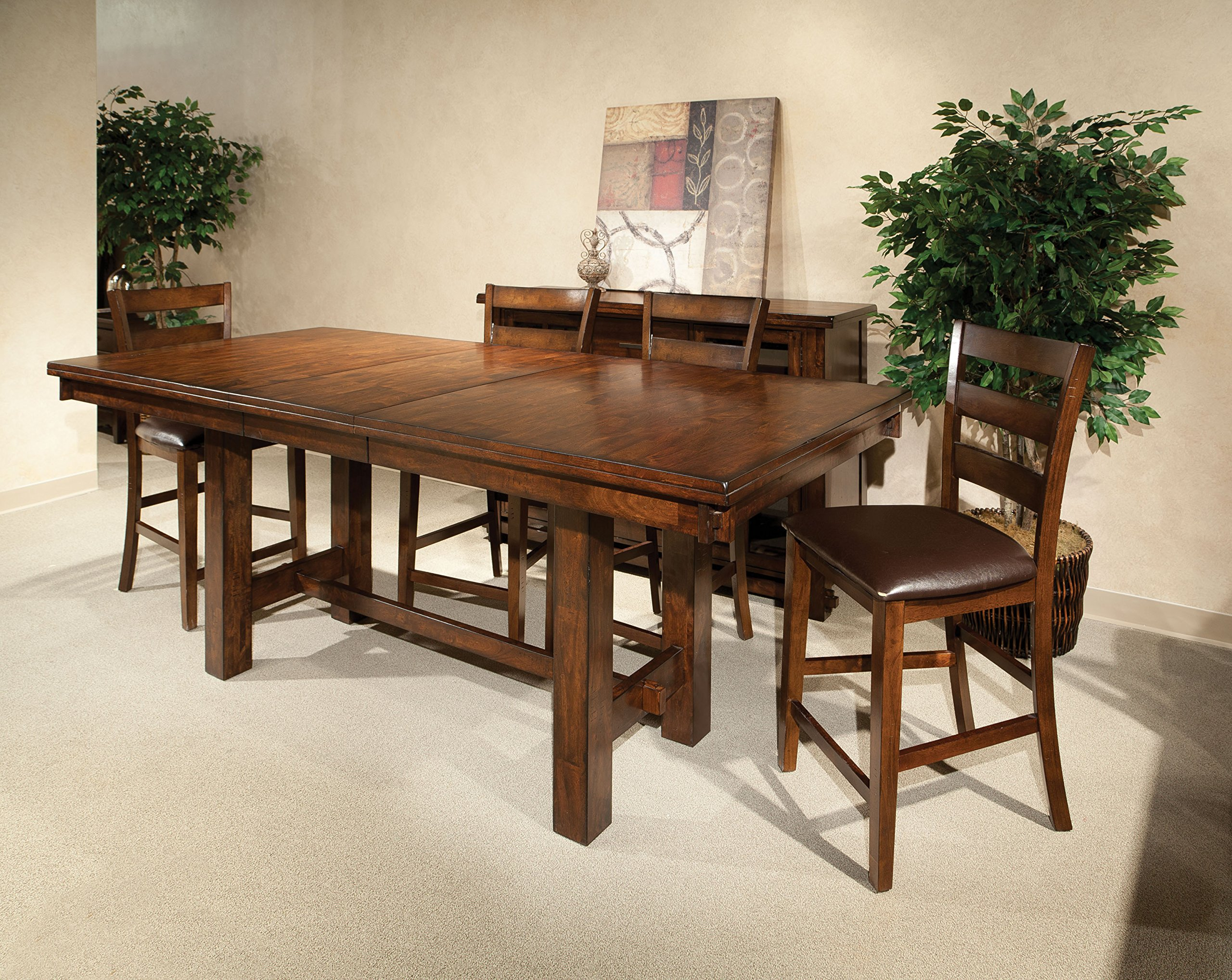 Intercon Kona Mango Wood 7 Pc Trestle Gathering Set - Constructed of solid mango wood and select hardwoods Unique hand distressing with a brushed Raisin finish ladder back barstools with cushion seats - kitchen-dining-room-furniture, kitchen-dining-room, dining-sets - A1ZF4m%2BUB9L -