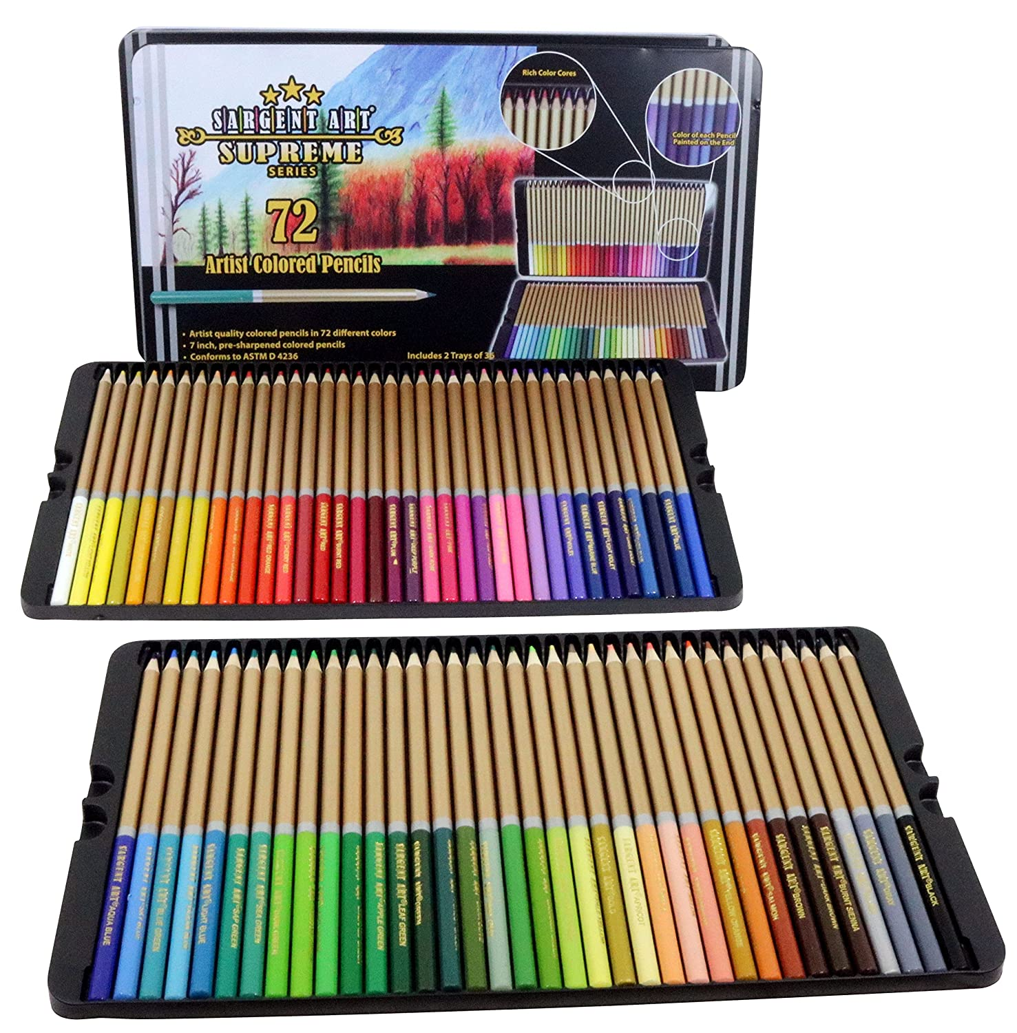 amazon com sargent art 22 7287 72ct colored pencils artist quality