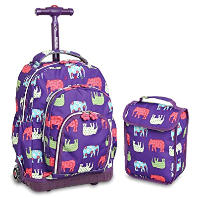 J World New York Kids' Lollipop Rolling Backpack With Lunch Self-Magnetic Sparkling Wheel and'FREE'Lunch Bag, Elephant, 16"
