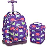 J World New York Lollipop Kids Rolling Backpack Lunch Bag, Elephant