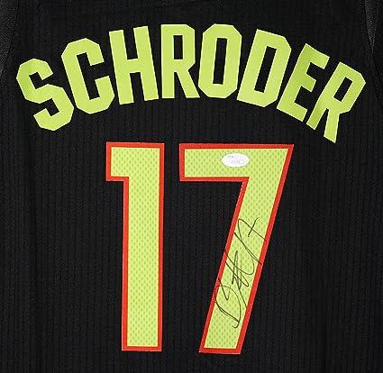 a3d25be03 Dennis Schroder Atlanta Hawks Signed Autographed Black  17 Jersey JSA COA