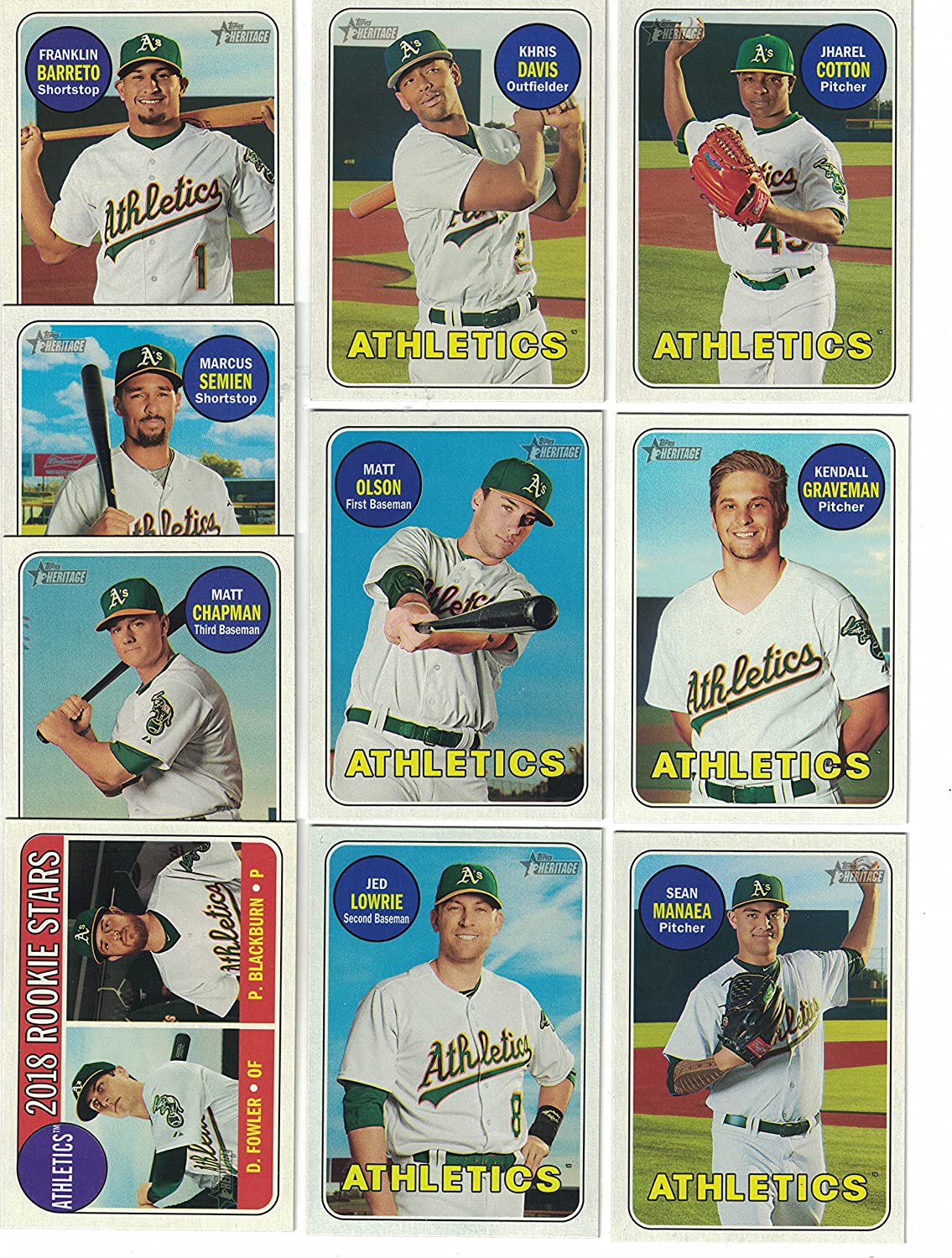 Oakland Athletics 2018 Topps Factory Sealed Special Edition 17 Card Team Set with Jed Lowrie and Stephen Piscotty Plus