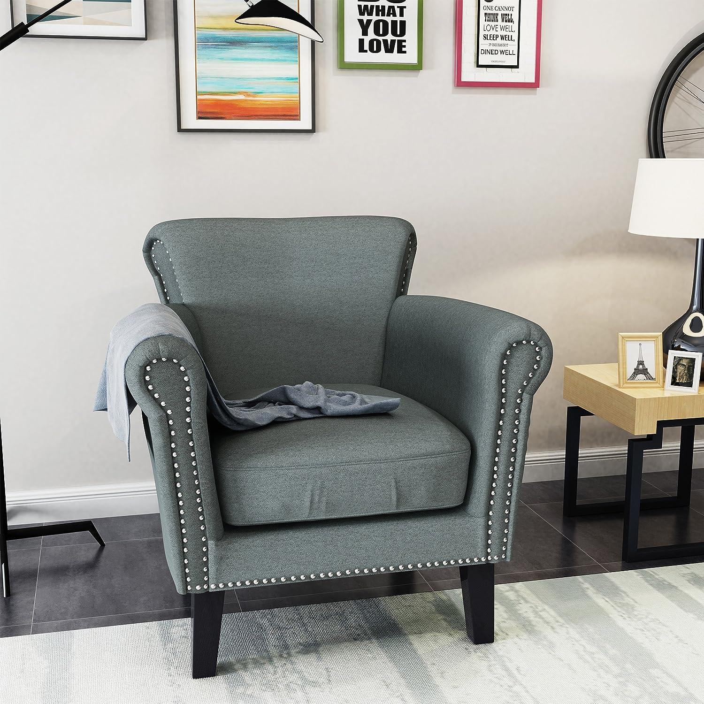 Steel bluee Dark Brown Christopher Knight Home 302569 Brice-Ckh Arm Chair, Steel bluee Dark Brown