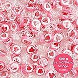 500 g Rocks Heart Sweets - mignonne décoration de table pour les mariages Baptême Saint-Valentin Fête des Mères Communion - Fait main pour grignoter - Rouge