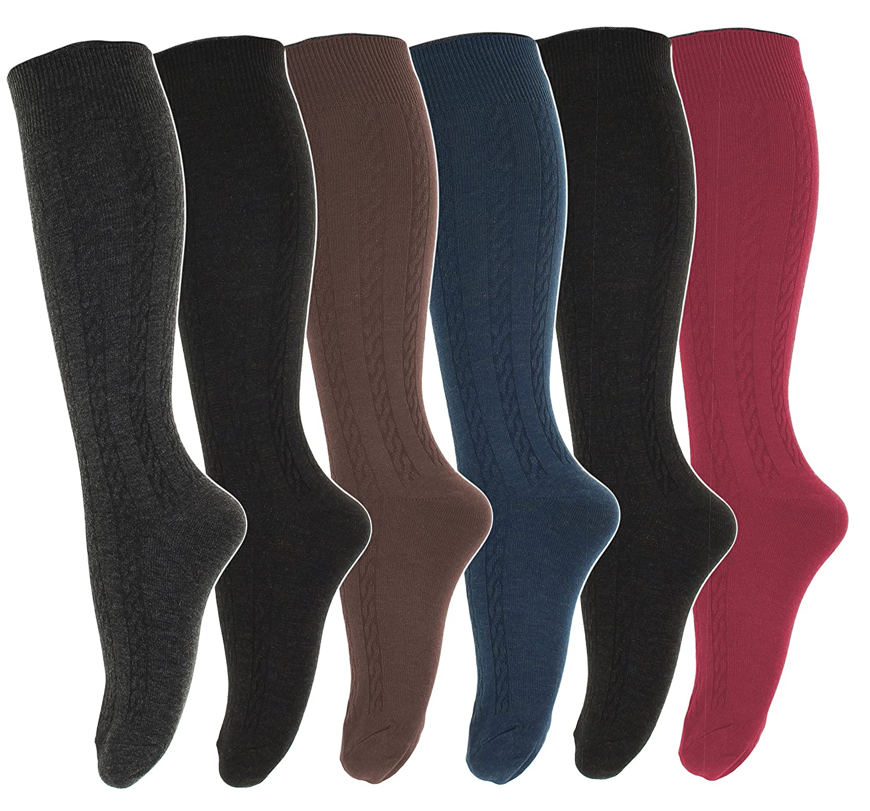 6 Pairs Womens Cotton Fancy Design Multi Color Knee High Socks