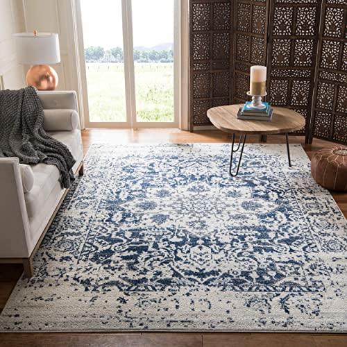 Safavieh Madison Collection MAD603D Cream and Navy Distressed Medallion Area Rug 8 x 10