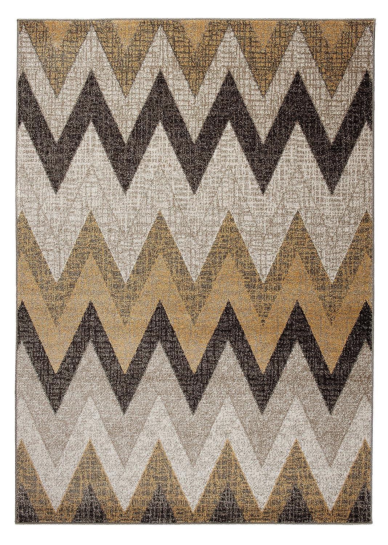 Designer Teppich für Ihre Wohnzimmer Esszimmer - Beige Creme Grau Braun - Teppich In Moderner Ausgabe - Dichter Und Dicker Flor - Ungewöhnlicher Design - Abstractes Geometrisches Muster Zickzack - Pflegeleicht -