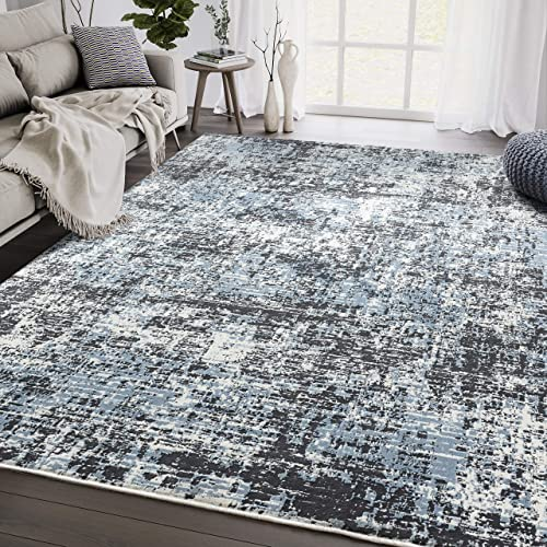 Black Blue Abstract 7'9'x10'2' Modern Area Rug