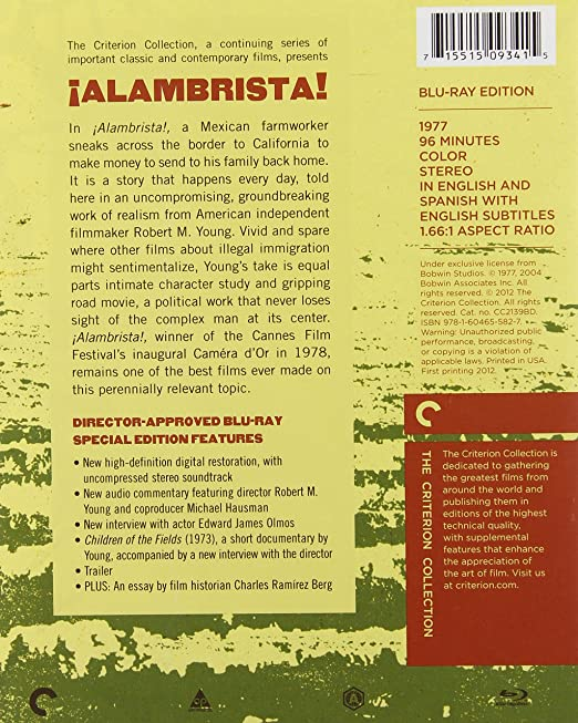 com ¡alambrista the criterion collection blu ray ned   the criterion collection blu ray ned beatty trinidad silva edward james olmos robert m young julius harris movies tv