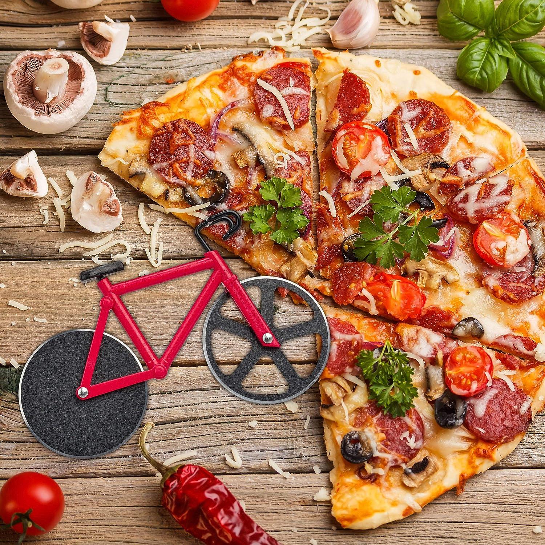 bleu Relaxdays Roulette /à pizza v/élo d/écoupe-pizza avec support coupe p/âte Fixie color/é