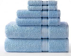 COTTON CRAFT Ultra Soft Luxury 6 Piece Ringspun Cotton Towel Set, 580GSM, Heavyweight, 2 Bath Towels, 2 Hand Towels, 2 Washcloths, Light Blue
